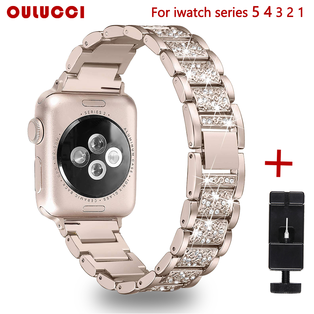 Oulucci Stainless Steel Metal Band Strap For Apple Watch 4/3/2/1/5 42/40/38/44mm Women Bracelet Wrist For IWatch Accessories