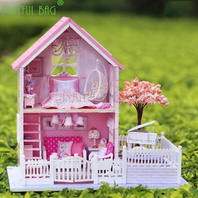 PB Playful bag Adult fun toys zhiqu house diy hut pink hand-assembled model girl girlfriend birthday child gift ZD23 5