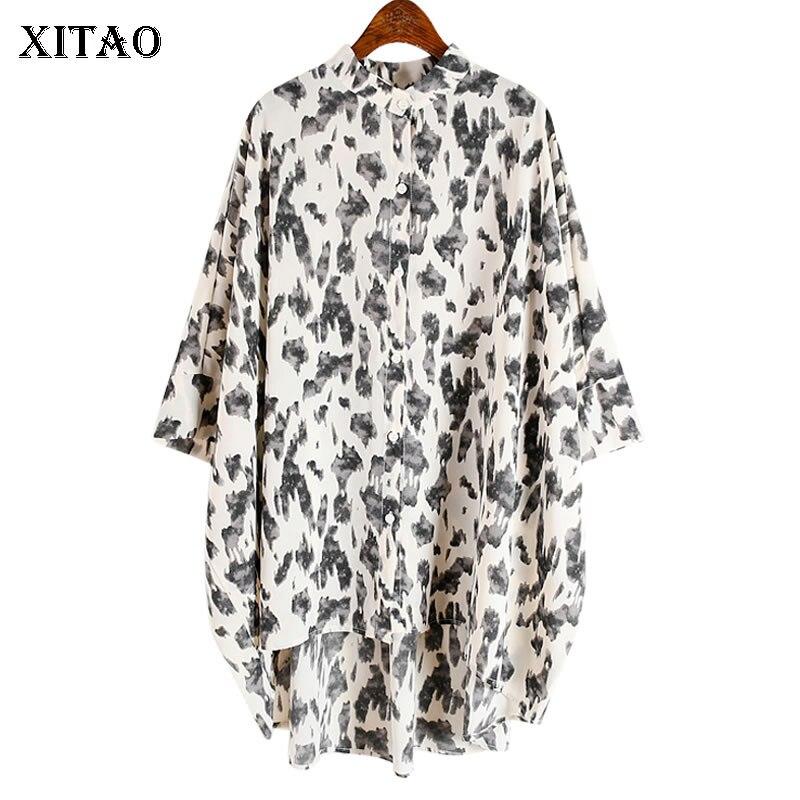 Xitao vintage impressão irregular plus size blusa roupas femininas 2020 verão solto gola meia manga combinar toda a camisa zll5126