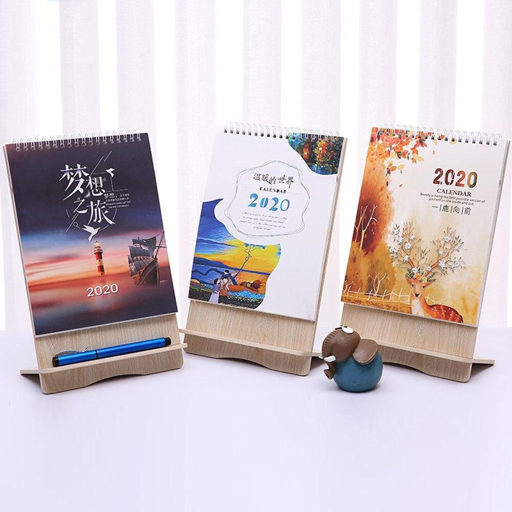 2020 Cute Cartoon Wood Desk Desktop Calendar Schedule Table Office Plan Random Mobile Phone Holder
