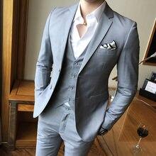 (Пиджак + жилет брюки) 2019 брендовая мужская одежда высокого