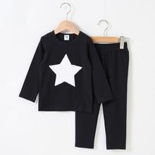 เสื้อผ้าเด็ก2PcsชุดRibbedเสื้อผ้าเด็กเสื้อผ้าเด็กเสื้อผ้าเด็กหญิงเสื้อผ้ารอบคอยาวกางเกงHeart Star Patchesชุดเด็กทารก