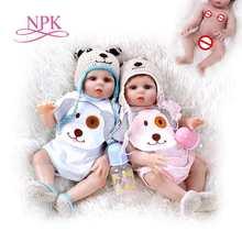 48CM premie doll reborn baby sweet twins in pink and blue full body soft silicone lifelike Bath toy Anatom