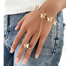 Aprilwell Aesthetic Bracelet With Finger Ring Gold Butterfly Link Wrist Chain For Women Lady Trendy Aesthetic 2021 Jewelry