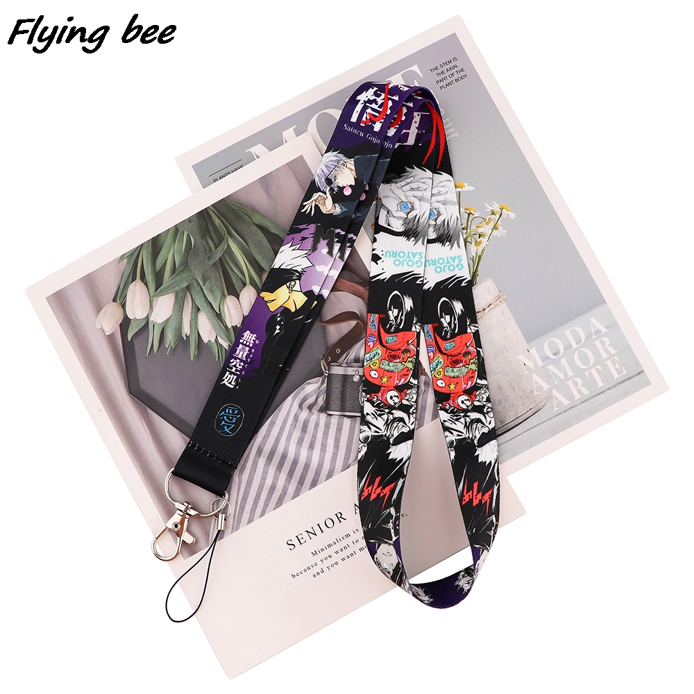 Flyingbee Anime Boy Cool Cartoon Icons Style Anime Lovers Key Chain Lanyard Neck Strap For USB Badge Holder DIY Hang Rope X1708