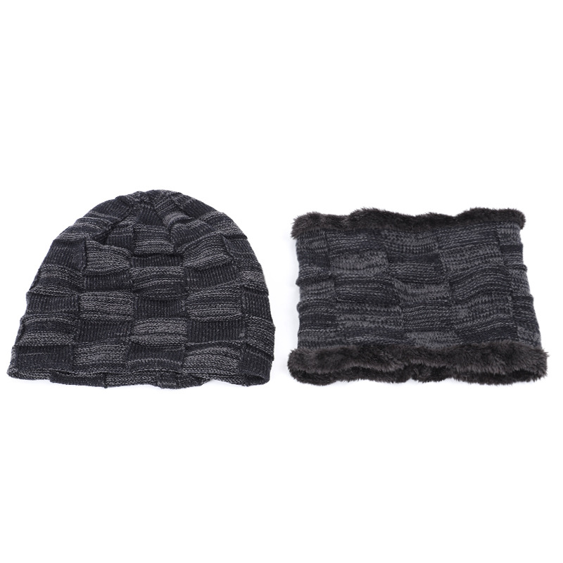Men's Outdoor Plus Velvet Yarn Hat Men's One-piece Cap Versatile Autumn And Winter Knitted Warm Scarf Two-Piece Set