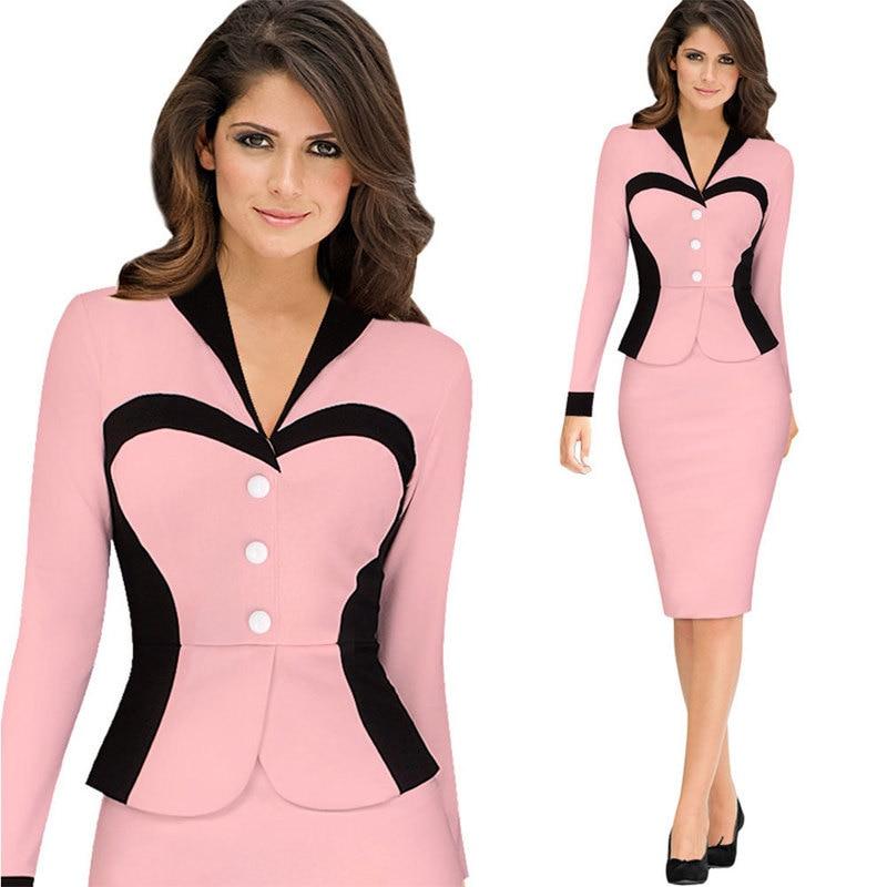 Women Winter Elegant Retro Faux Jacket Long sleeve Contrast  Dress Suit Work Office Business Party Sheath Dress Suit