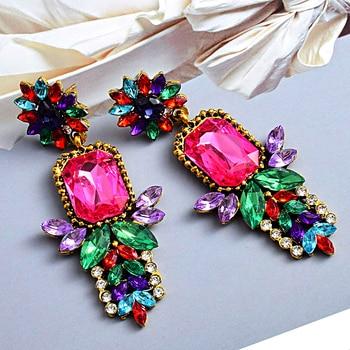 -Quality Metal Colorful Crystal Long Drop Earrings  3
