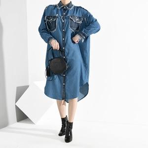 Image 2 - [EAM] Women Blue Denim Burr Striped Big Size Shirt Dress New Lapel Long Sleeve Loose Fit Fashion Tide Spring Autumn 2020 A282