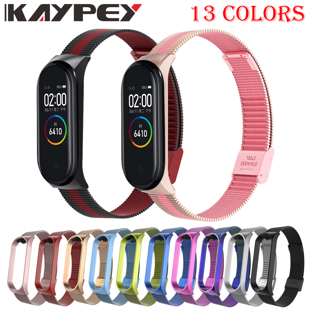 Strap For Xiaomi Mi Band 3 4 Wrist Metal Bracelet Screwless Stainless Steel For Xiaomi Mi Band 4 3 Strap Wristbands Pulseira