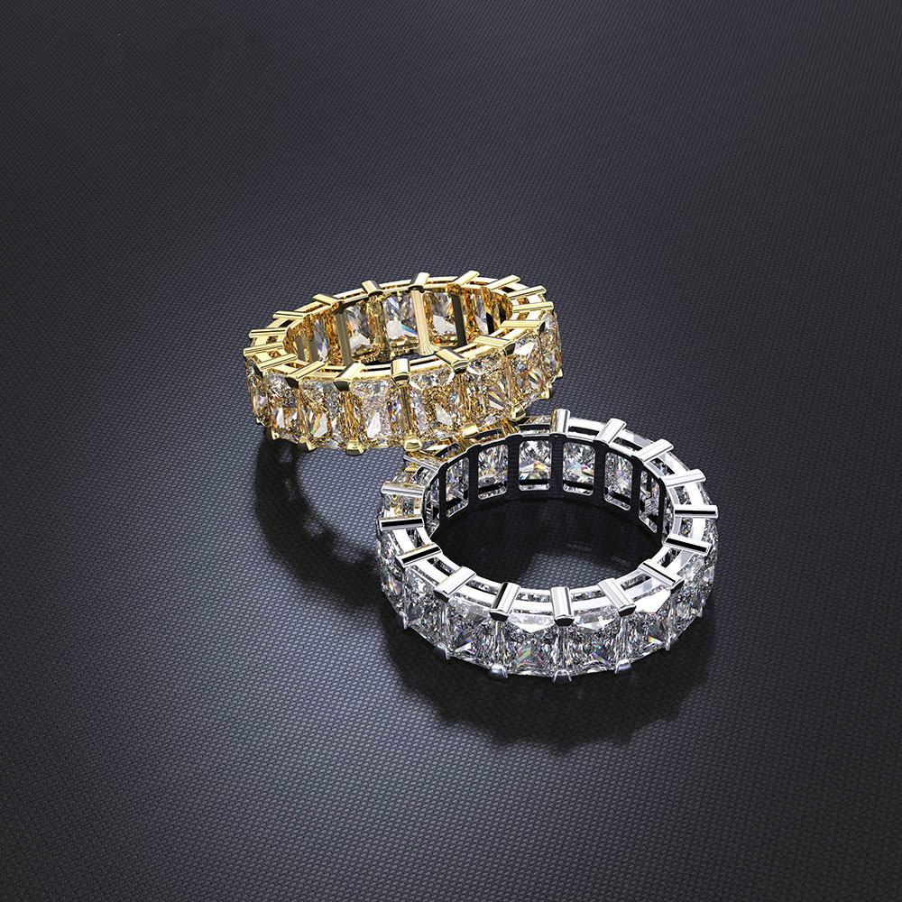 Luxury Eternity Promise Ring 925 Sterling Silver Princess Cut AAAA Cz Party Wedding Band Rings For Women Bridal Fashion Jewelry