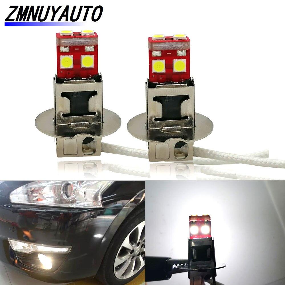 2 шт. светодиодный светодиодные лампы H1 H3 Led 6 SMD 3030, чип высокой мощности Светодиодный ные противотуманные фары, дневные ходовые огни, лампа 12 ...