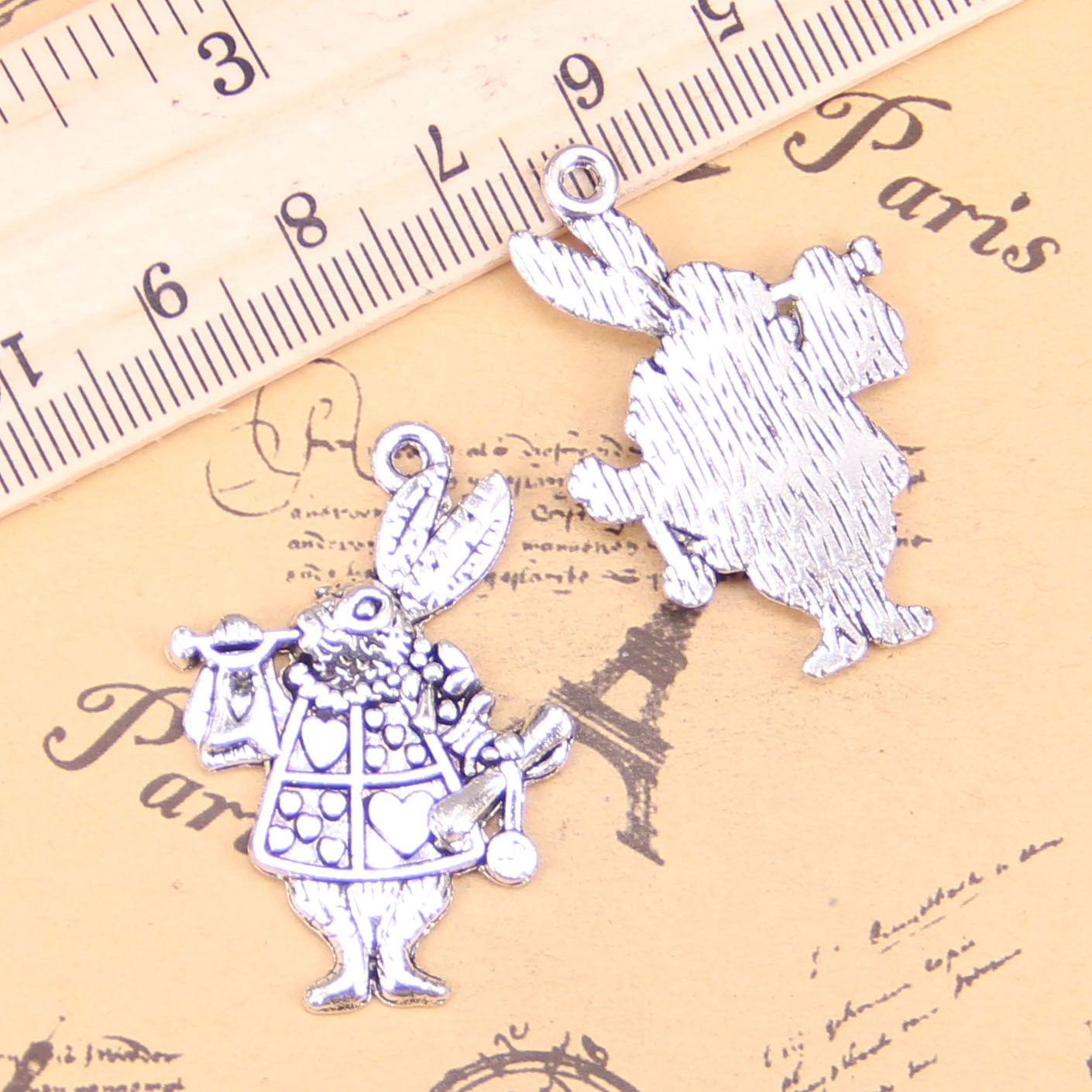 6pcs Charms Musical Rabbit Trumpet 36x23mm Antique Pendants,vintage Tibetan Silver Jewelry,diy For Bracelet Necklace