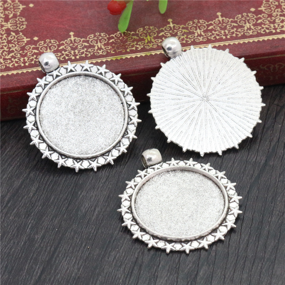 New Fashion  3pcs 25mm Inner Size Antique Silver Plated Stars Style Cabochon Base Setting Charms Pendant (A3-04)