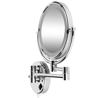 Hot 8 Inch LED Wall Mirror Bright Magnifying Extension Folding Double Faced with normal and Magnifying x5 360 degree rotatio
