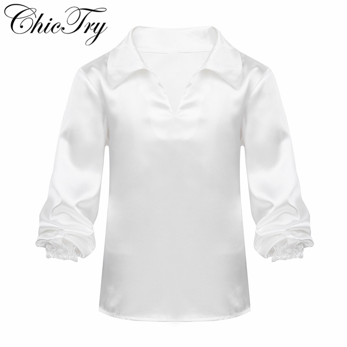Kids Boys Children Satin Finish Spread Collar Pull-on Ballet Shirt Dance Costume Dancewear For Training Exam Stage Performance