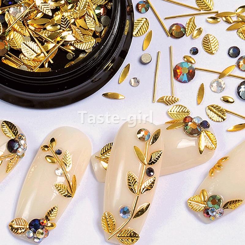 1 Jar  Gold Silver Bar Metal 3d Nail Art Decorations Caviar Beads Rhinestones Bullion Strass Nails Accessories Manicure Tool