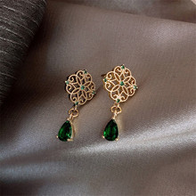 FYUAN Vintage Palace Hollow Alloy Drop Earrings for Women Exquisite Small Green Crystal Dangle Earrings Fashion Jewelry Gifts