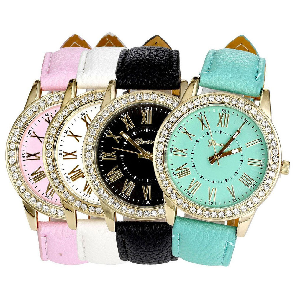 2020 Women Crystals Watch New Women's Watches Ladies Wrist Watches Leather Band Quartz Plated Classic Round Watch Zegarek Damski