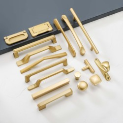 Simple Style Matte Gold Cabinet Handles Solid Aluminum Alloy Kitchen Cupboard Pulls Drawer Knobs Furniture Handle Hardware