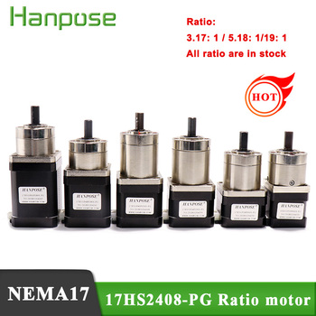 1PCS  Stepper Motor Nema 17 Planetary geared Gearbox All Ratio3.71-1 17HS2408S  3401S 4401S 6401S 8401S  motor For 3D Printer right angle 90 degree planetary gearbox reducer 12 arcmin 2 stage ratio 15 1 to 100 1 for nema34 stepper motor input shaft 14mm