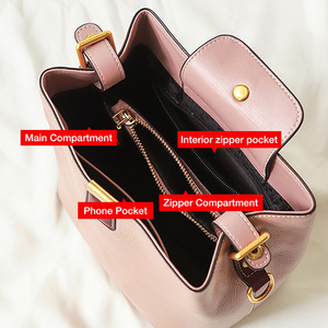 Image 5 - FOXER Cowhide Bucket Bag Lady Messenger Bag Round Women High Quality Stylish Handbag & Totes Elegant Female Bag Large Capacity