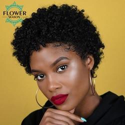 Afro crépus bouclés perruques court Bob perruque cheveux humains brésilien pour les femmes noires Pixie Cut perruque pleine Machine faite 150% FlowerSeason