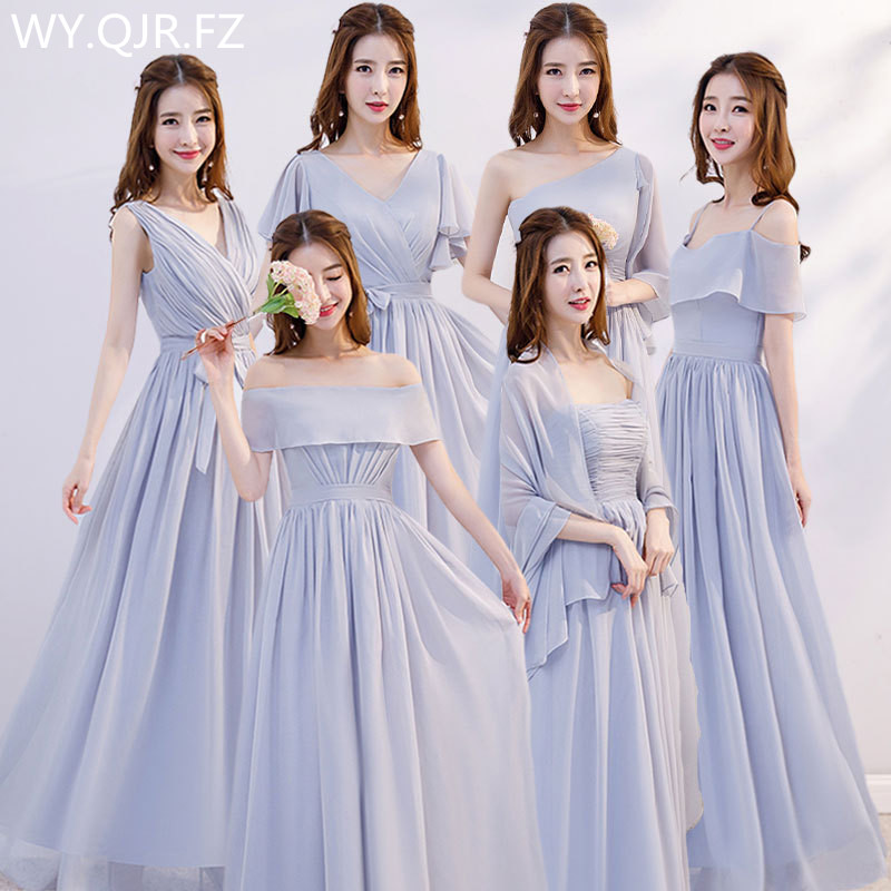 XMFS-75H#Gary Bridesmaid Dress Long Lace Up Chiffon Bra V-neck Etc 6 Style Wedding Party Prom Dresses  Girl Cheap Wholesale