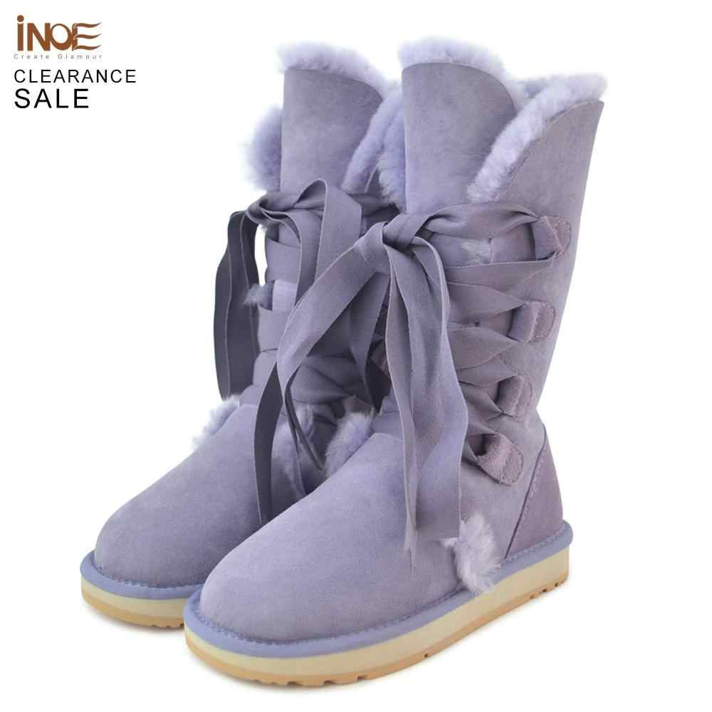 INOE Sheepskin Suede Leather Natural Fur Lined Strap Women Winter Boots Lace Up Quality Snow Boots for Women Clearance Sale