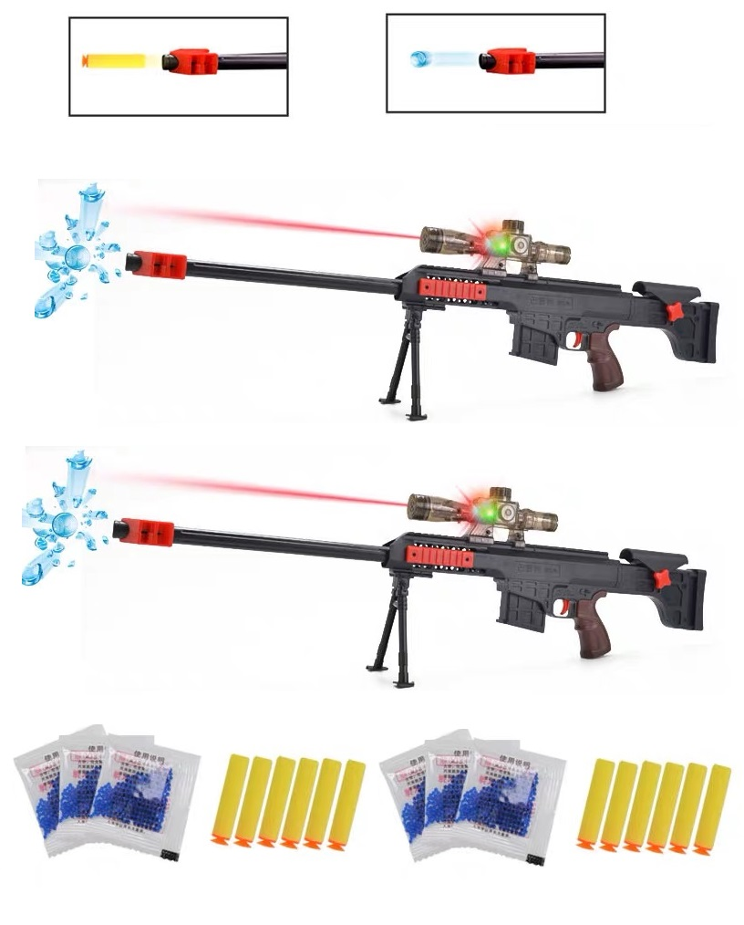 2 Pieces Toy Sniper Rifles, Laser Scope, With NERF And Water Ball Bullets.