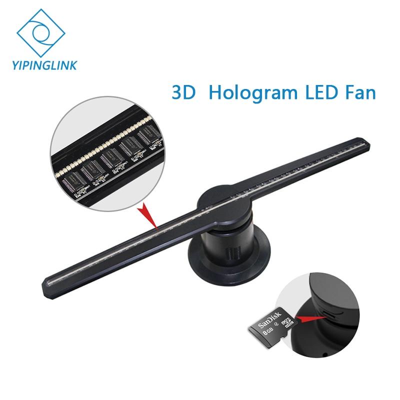 Publicité 3D hologramme ventilateur LED 42cm 3D logo lumière décoration 3d lumière projecteur œil nu 3d LED affichage avec carte SD 8G