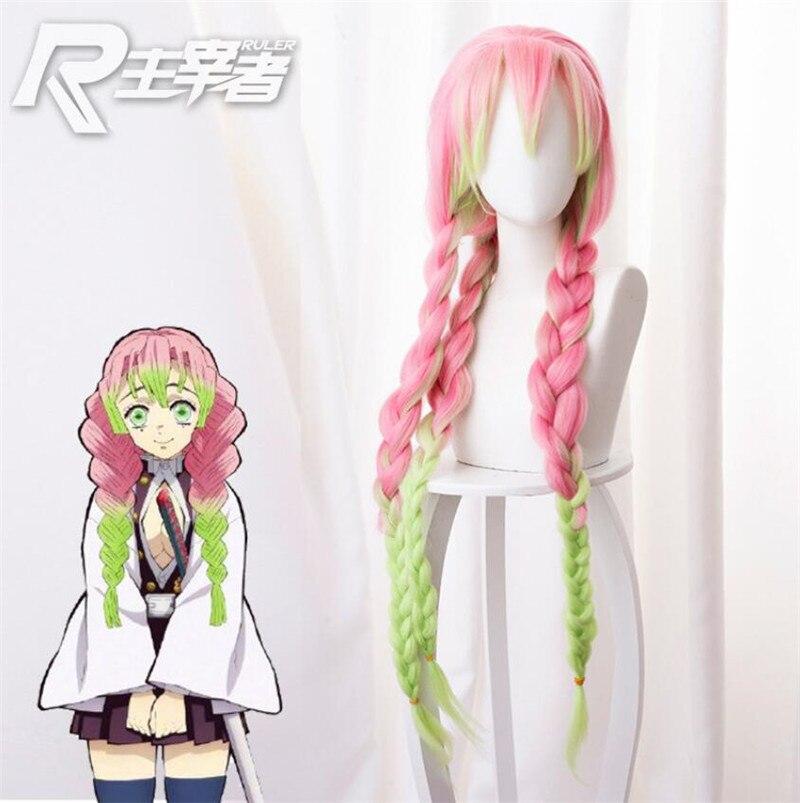 Kanroji Mitsuri Anime Demon Slayer Kimetsu No Yaiba kobiety peruka do Cosplay zielony różowy kolorowe włosy warkocze włosy