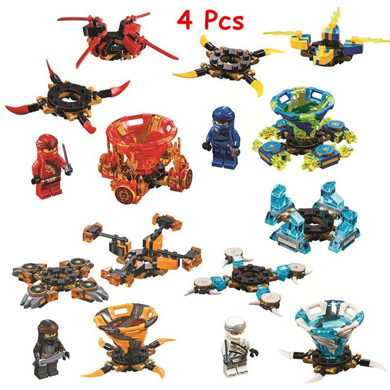 4 pièces/lot Ninjagoed Spinjitzu Zane Kai Jay Cole blocs de construction Kit briques classique film Ninja modèle enfants jouets pour enfants cadeau