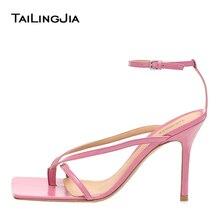 Square Toe Pink Sandals for Women 2020 Blue Heels Ankle Strap Heeled Thong Sandal Ladies Summer Shoes Gold High Heel Flip Flops