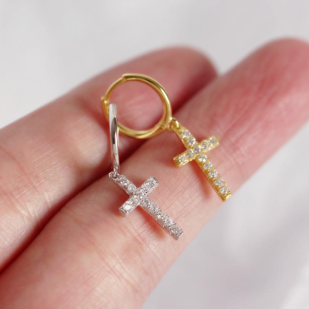 Kikichicc 925 Sterling Silver 12mm Cross Drop Earring Crystal CZ Zircon Women Luxury Piercing Pendientes 2020 Fashion Jewelry
