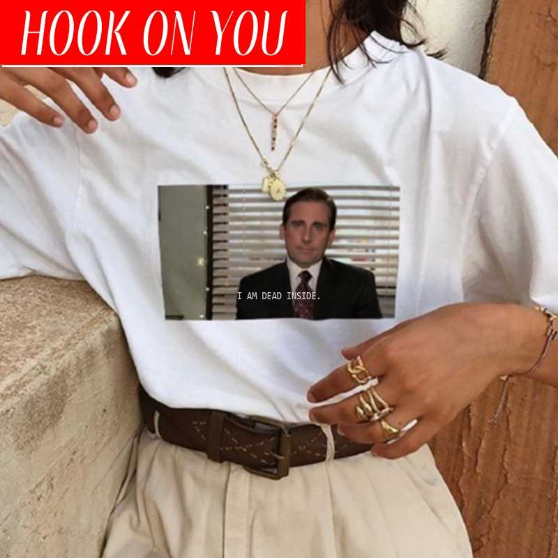 I Am Dead Inside Quotes Funny T-shirt The Office Michael Scott T-Shirt Unisex Tumblr T-shirt White Shirts Femme Dropshipping