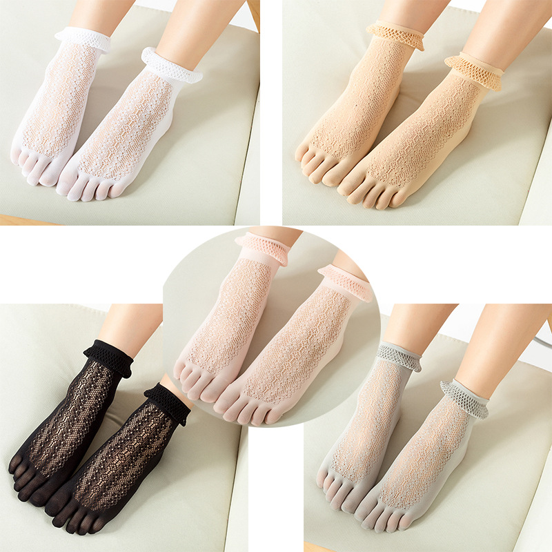Women Fishnet Elastic Glass Socks Dance Socks Lace Crystal Socks Transparent