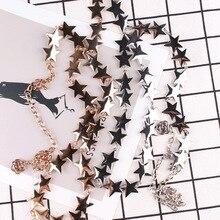 Мода сплав талии цепи металла ЗВЕЗДА женский поясной ремень летнее платье пальто рубашка корсетный пояс бандажный корсет Дамы звезды ремни