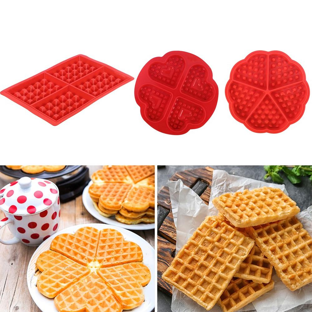 Diy Waffle Waffle Mold Model Nonstick Kitchen Cake Making Accessories Hot Baking Tool Heart-shape 4-square Waffle Mold