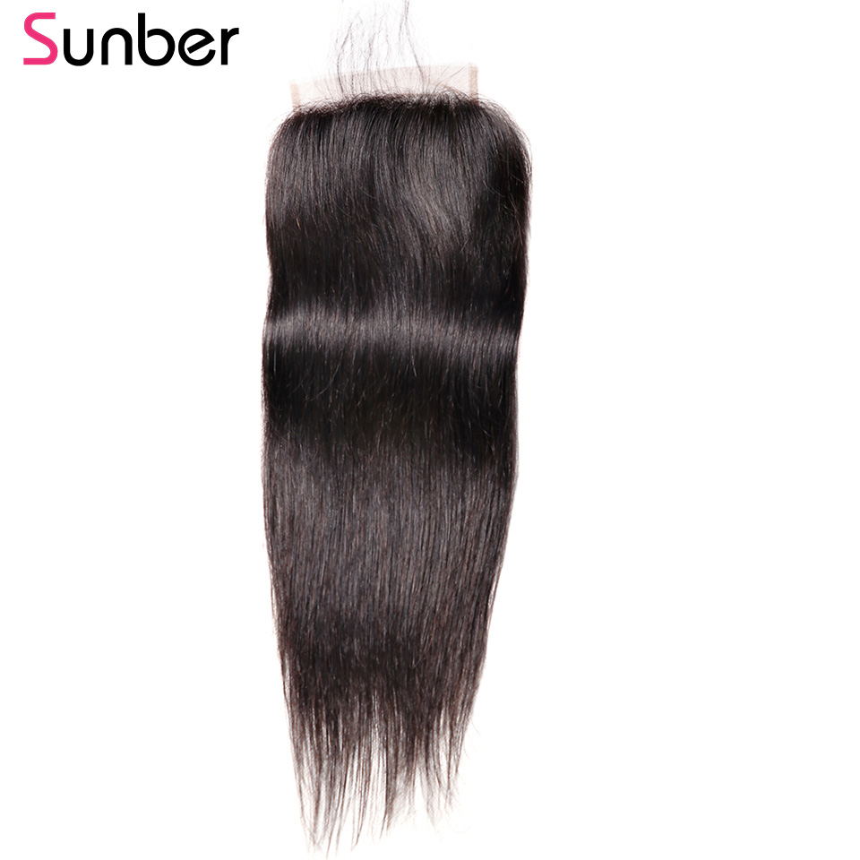 Sunber Straight 5X5 150% Density Lace Closure With Free Parting 8-18 Inch Brazilian Remy Human Hair Closure No Bleached Knots