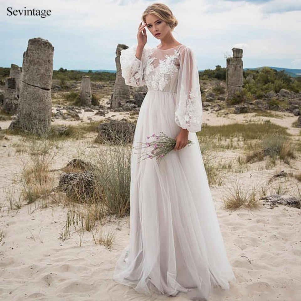 Sevintage Simple Beach Puff Full Sleeves Long Wedding Dresses Boho Scoop Lace Bridal Gowns Tulle Bride Dress Robe De Mariee 2020