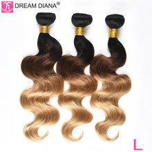 "DreamDiana Three Tones Brazilian Body Wave 3 Bundles 1B 4 27 10""-26""L Ombre Remy Weave 100% Pre Colored Human Hair Extensions(China)"