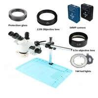 34MP Digital video HDMI USB microscope camera 3.5X-90X simul-focal Trinocular Stereo soldering Microscopio 144 Led lights lamp