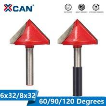 XCAN 1 adet 32mm V şekli freze kesicisi 90 derece ahşap freze uçları CNC frezeler 6mm Shank ahşap kesme gravür Bit