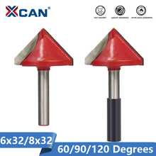XCAN 1pc 32mm V Shape Milling Cutter 90 Degree Wood Router Bits CNC End Mills 6mm Shank for Woodworking Trimming Engraving Bit