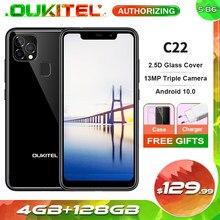 Oukitel c22 4gb 128gb android 10.0 mt6761 quad core smartphone 2.5d vidro capa 13mp triplo câmera 5.86 mobile 4 4g telefone móvel