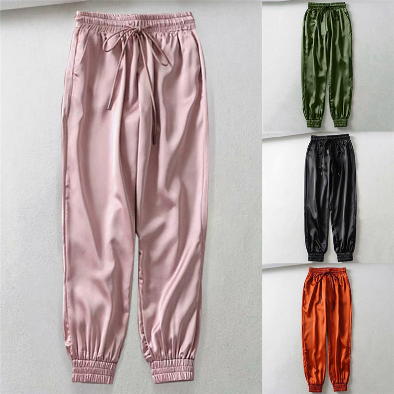 2020 New Women's Solid Gym Pants Ladies Elastic Waist Harem Pants Female Pocket High Waist Solid Ankle Trousers Pantalones Mujer