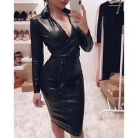 Women PU Dress Plunge Bowknot Detail Long Sleeve Faux Leather Dress With Sashes Autumn Winter Slim Fit Black Dresses Vestidos