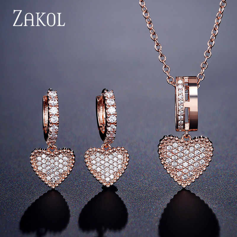ZAKOL Fashion Cubic Zirconia Pave Setting Heart Wedding Necklace Earrings Set for Women Romantic Lovers Jewelry Gift FSSP3014