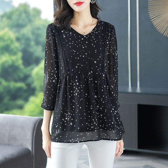 Women's Spring Summer Style Chiffon Blouse Shirt Women's Printed Long Sleeve Loose V-neck Elegant Casual Tops DD8428 5